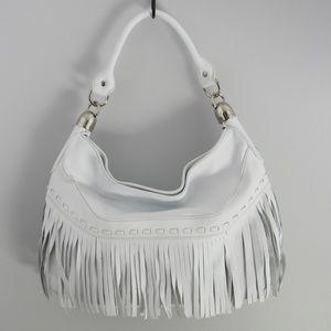 B. Makowsky White Fringe Shoulder Large Bag